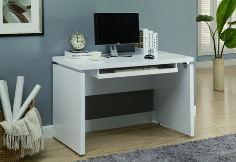 "48"" Modern White Computer Desk with Floating Top & Keyboard Tray"