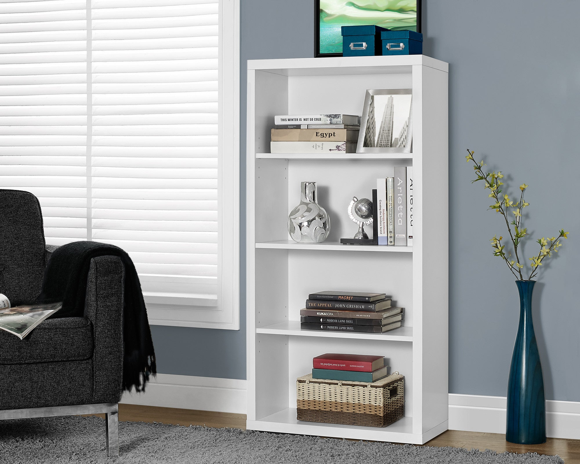 "48"" Tall Four-Shelf Bookcase in White"