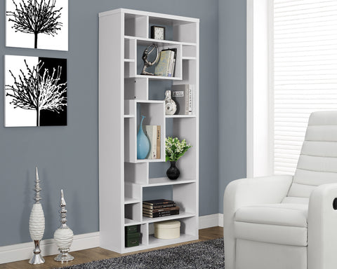 "72"" Tall Modern Bookcase in White Finish"