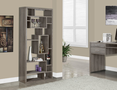 "72"" Tall Modern Bookcase in Dark Taupe Finish"
