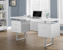 "Load image into Gallery viewer, 60"" Modern White Double Pedestal Desk with File Drawer"