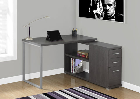 Dark Gray L-shaped Corner Computer Desk with Storage