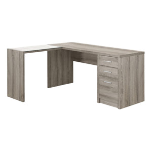 "60"" L-Shaped Dark Taupe Office Desk w/ 3 Drawers"