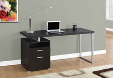 "Load image into Gallery viewer, Modern 60"" Single Pedestal Computer Desk in Cappuccino"
