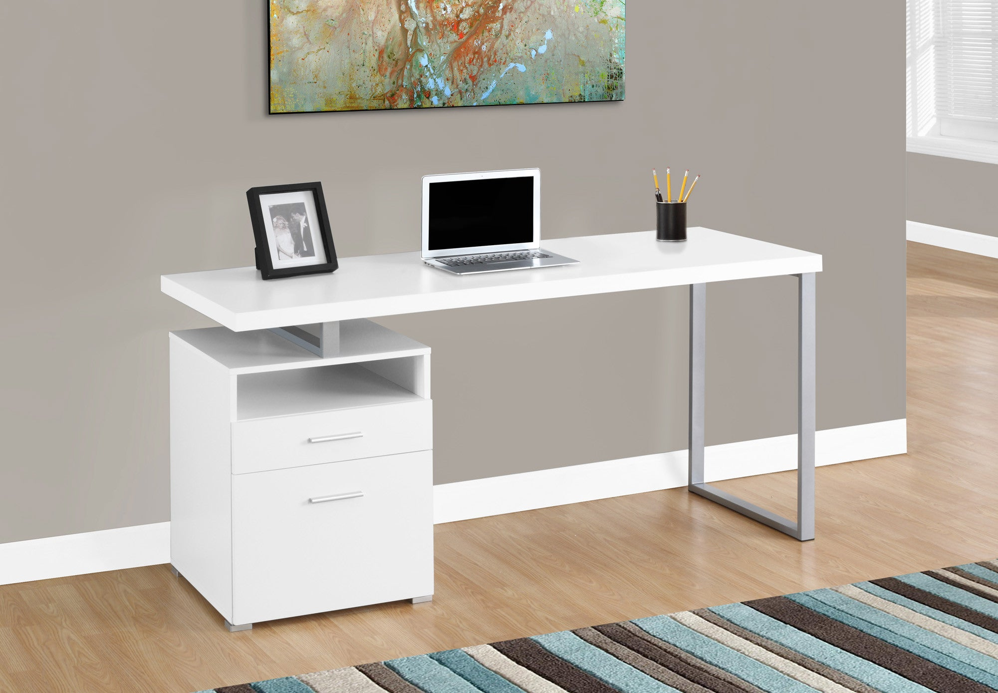 "Modern 60"" Single Pedestal Computer Desk in White"