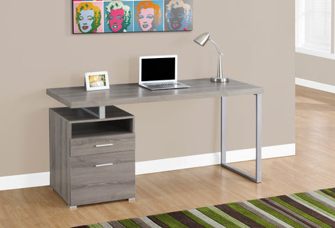 "Modern 60"" Single Pedestal Computer Desk in Dark Taupe"