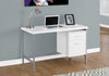 Modern Silver & White Office Desk w/ 2 Drawers
