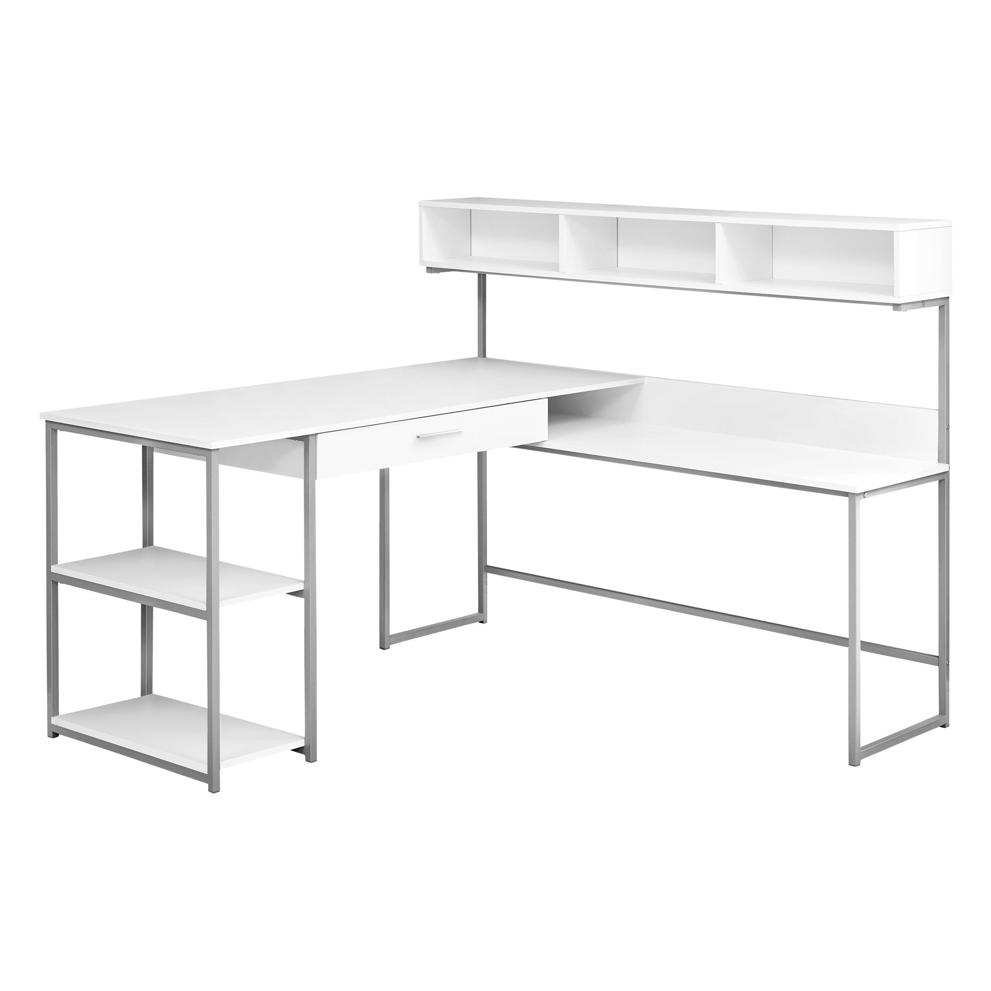 "White & Silver Metal 59"" L-Shaped Corner Desk"