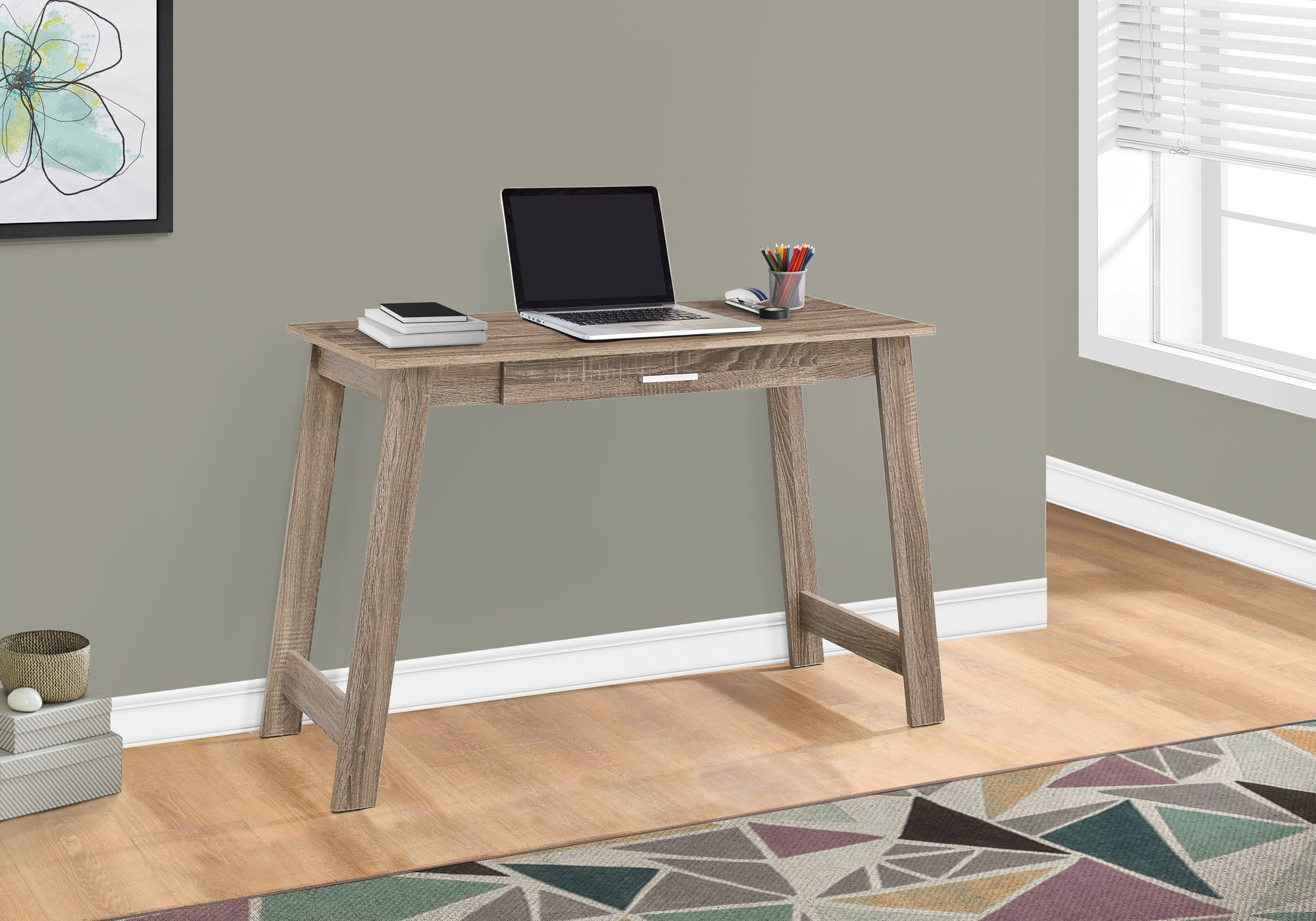 """Dark Taupe 34"""" Office Desk with Compact & Stylish Design"""