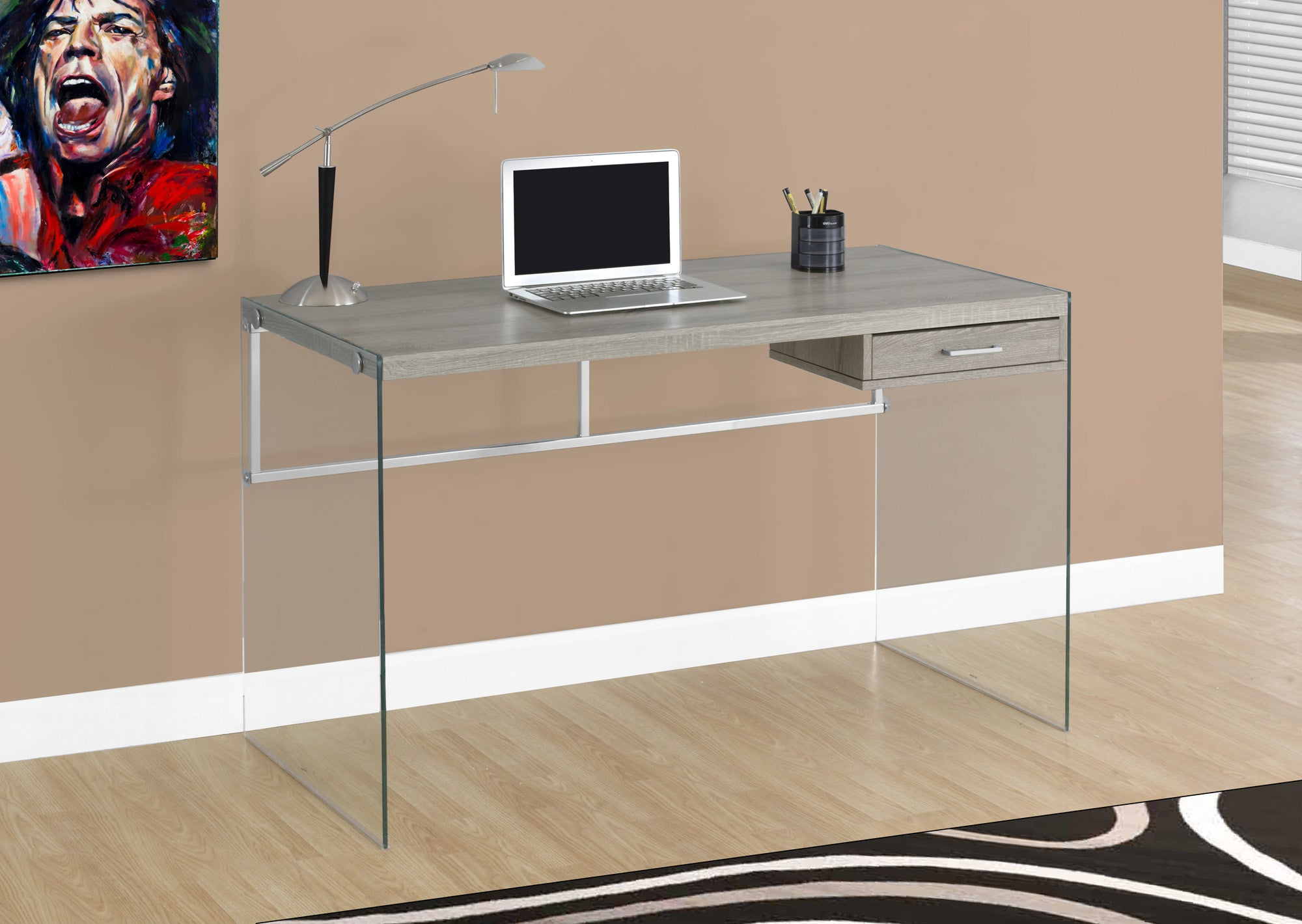 "Modern 48"" Dark Taupe Computer Desk with Glass Legs"
