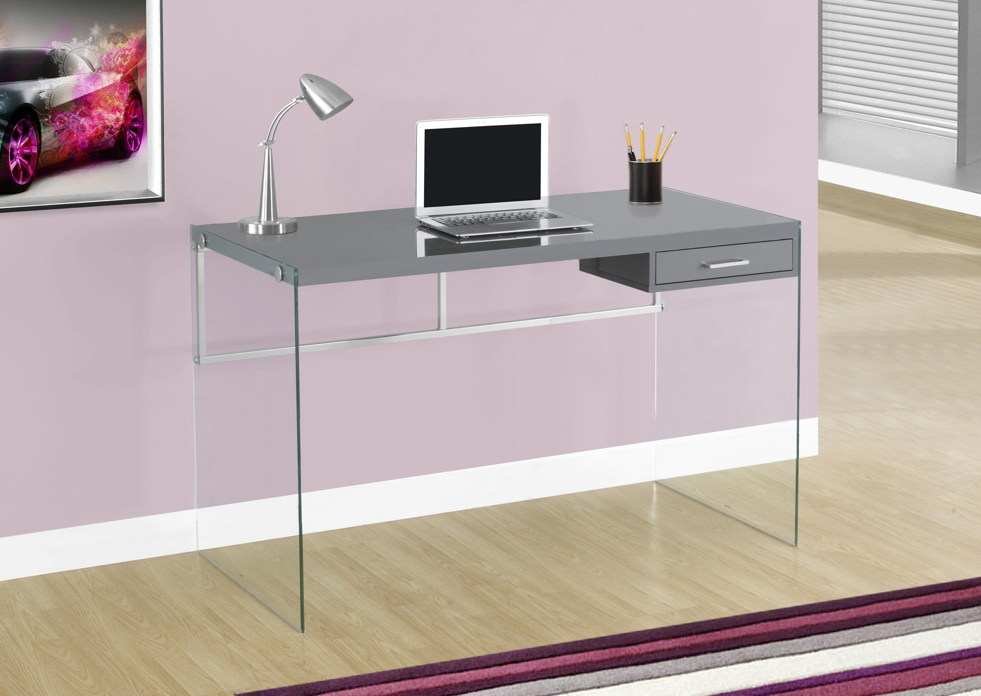 "Modern 48"" Glossy Gray Computer Desk with Glass Legs"