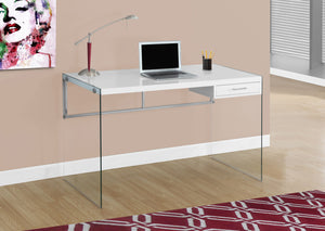 "Modern 48"" Glossy White Computer Desk with Glass Legs"