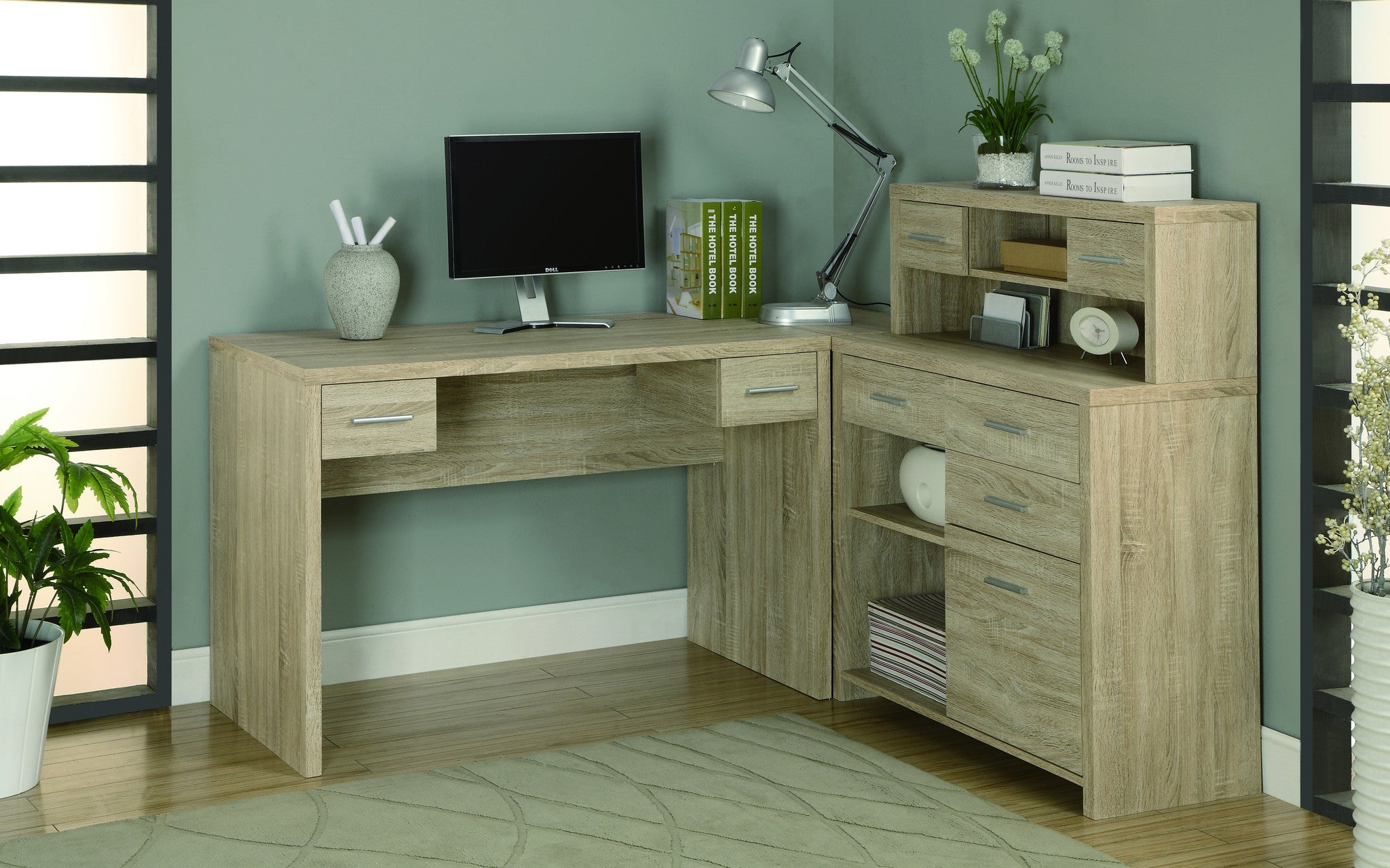 Modern L-Shaped Desk with Great Storage in Natural Reclaimed Finish