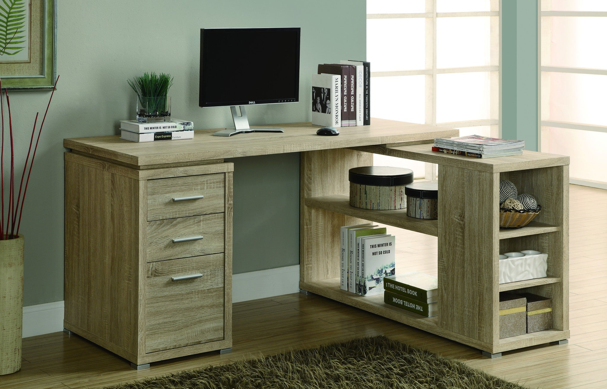 Modern L-Shaped Desk with File Drawer & Open Shelving in Natural Reclaimed Finish