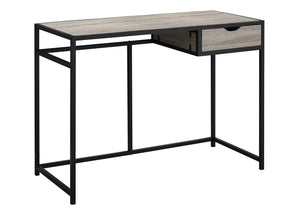 "Modern Dark Taupe & Black 42"" Office Desk in Minimalist Style"