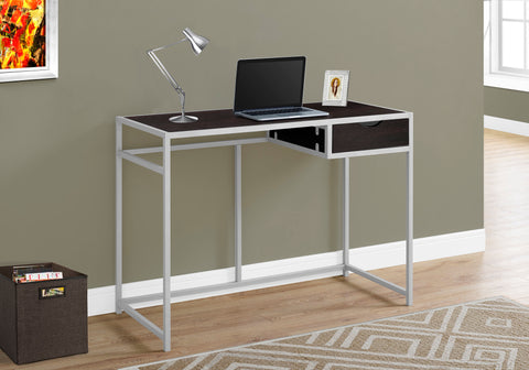 "Modern Cappuccino & Silver 42"" Office Desk in Minimalist Style"