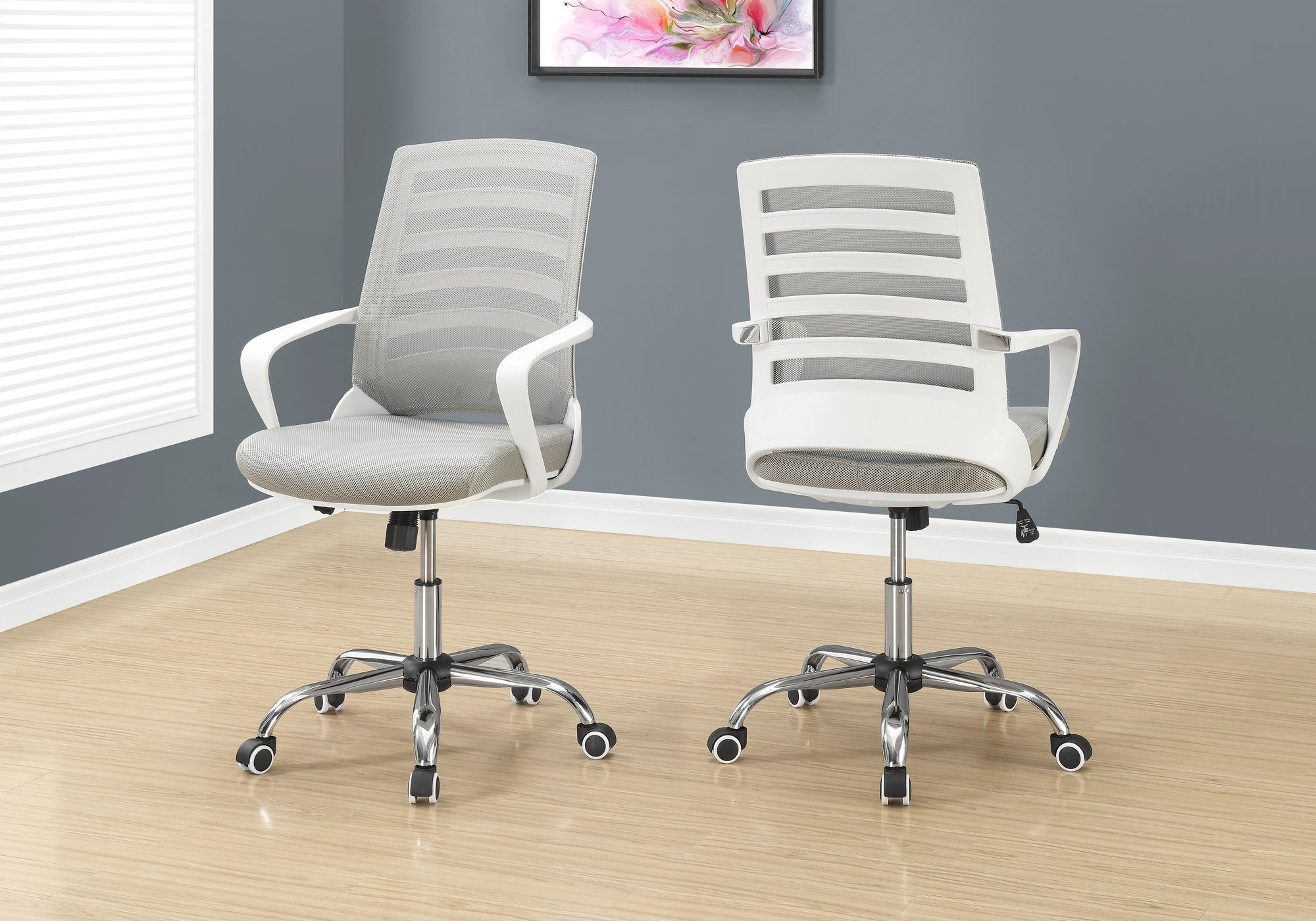 Ergonomic White Mesh Rolling Office Chair w/ Arms