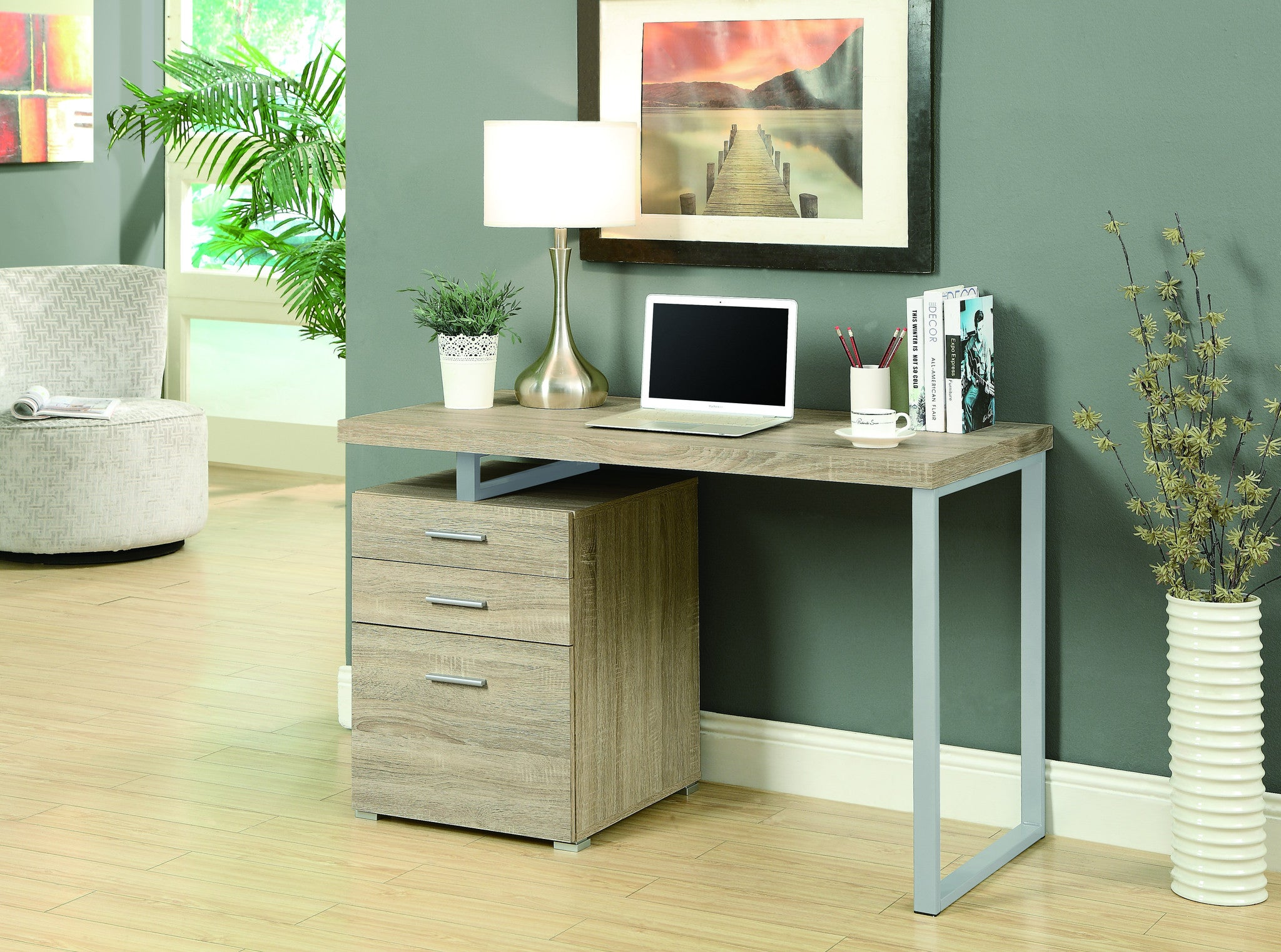 "48"" Single Pedestal Modern Natural Reclaimed Desk with Floating Desk Top"
