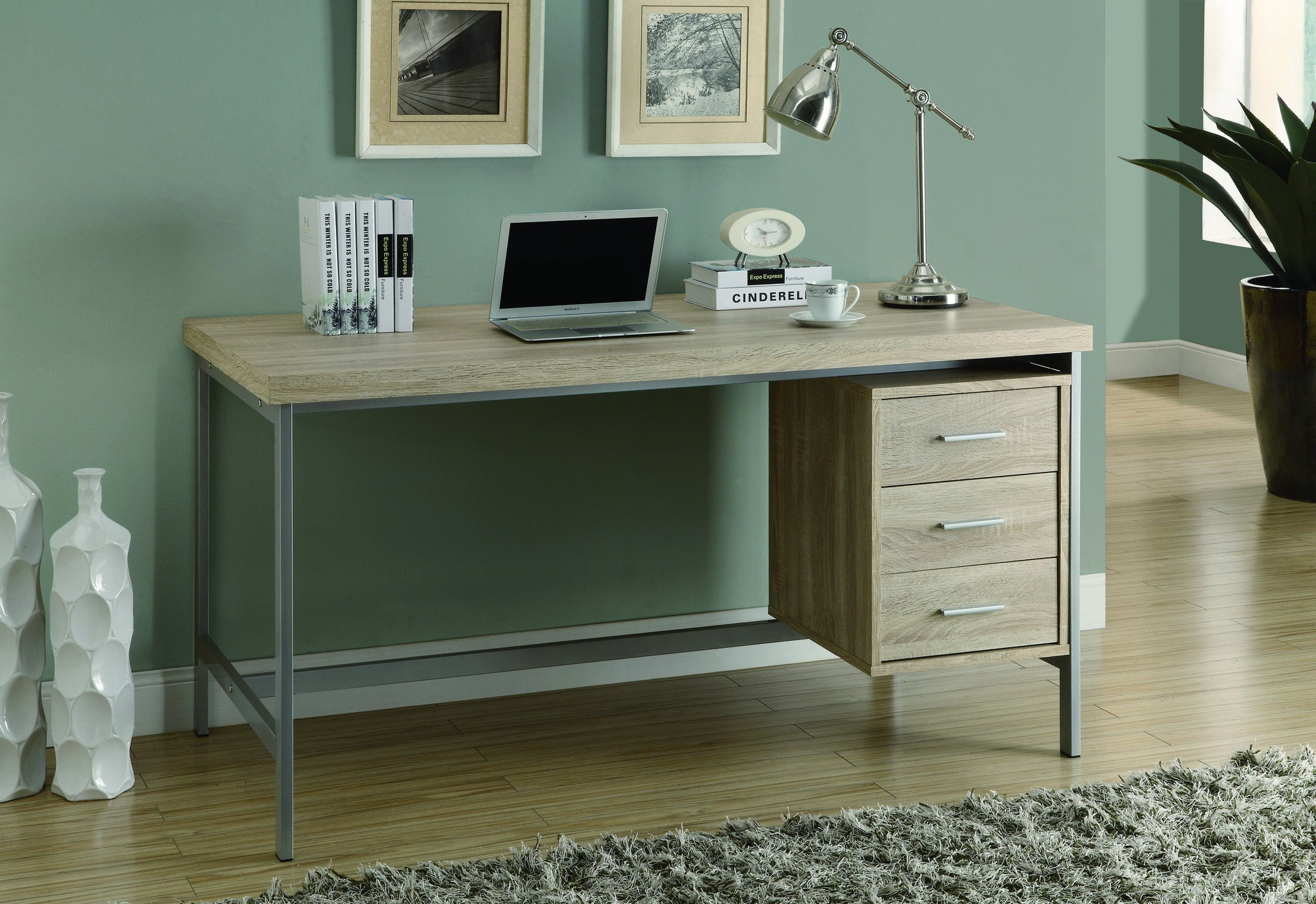 "Modern 60"" Three Drawer Desk in Natural Reclaimed Finish"
