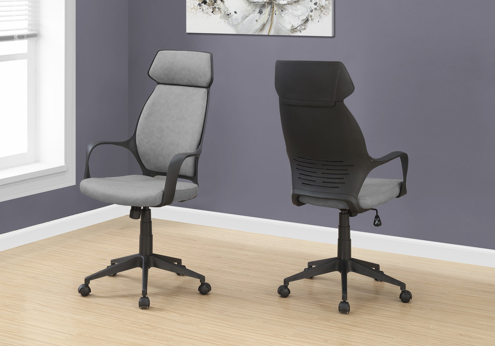 Classic Gray Microfiber Office Chair w/ High Back