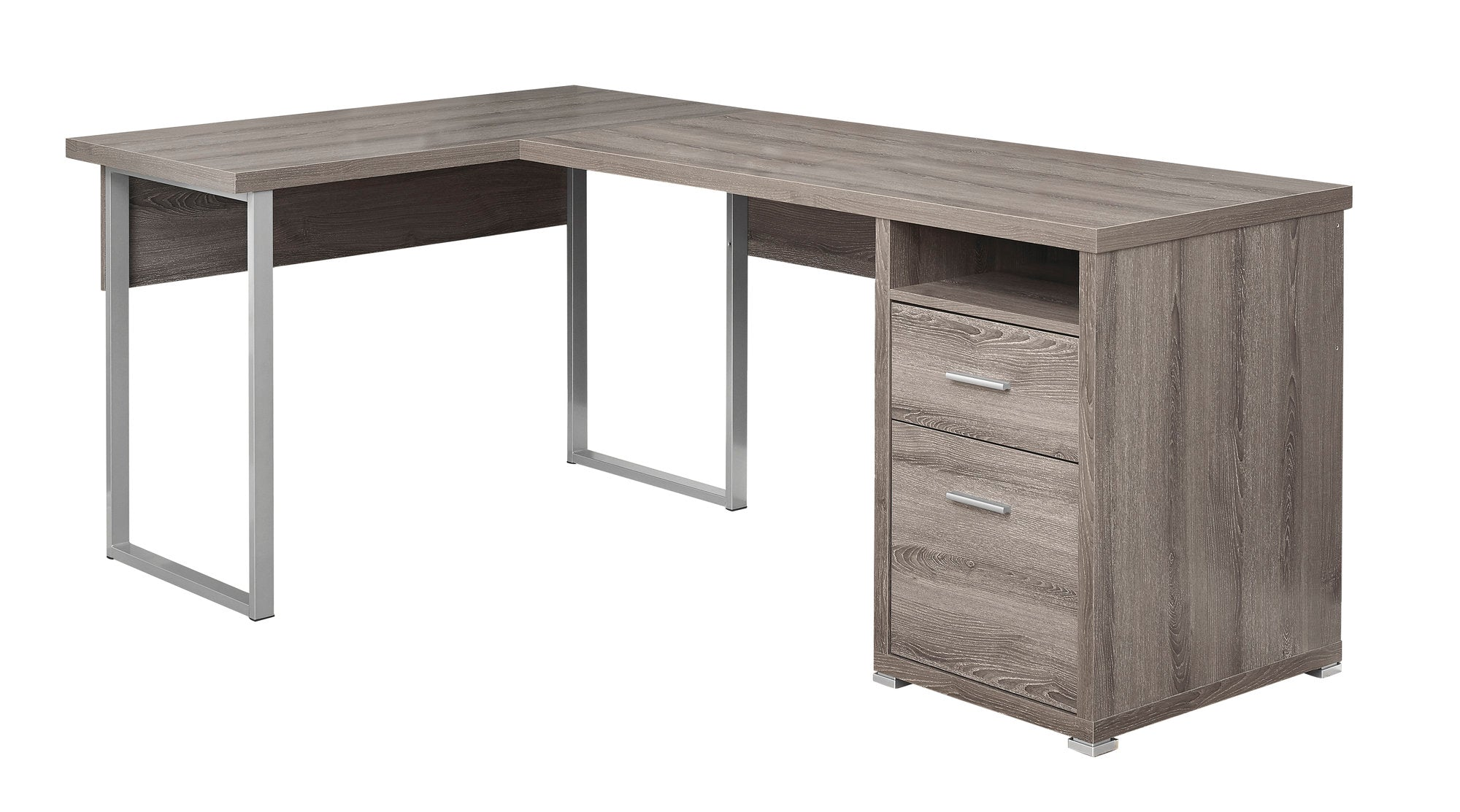 "79"" L-Shaped Dark Taupe Corner Office Desk w/ Flexible Position"