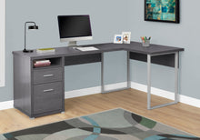 "Load image into Gallery viewer, 79"" L-Shaped Grey Corner Office Desk w/ Flexible Position"