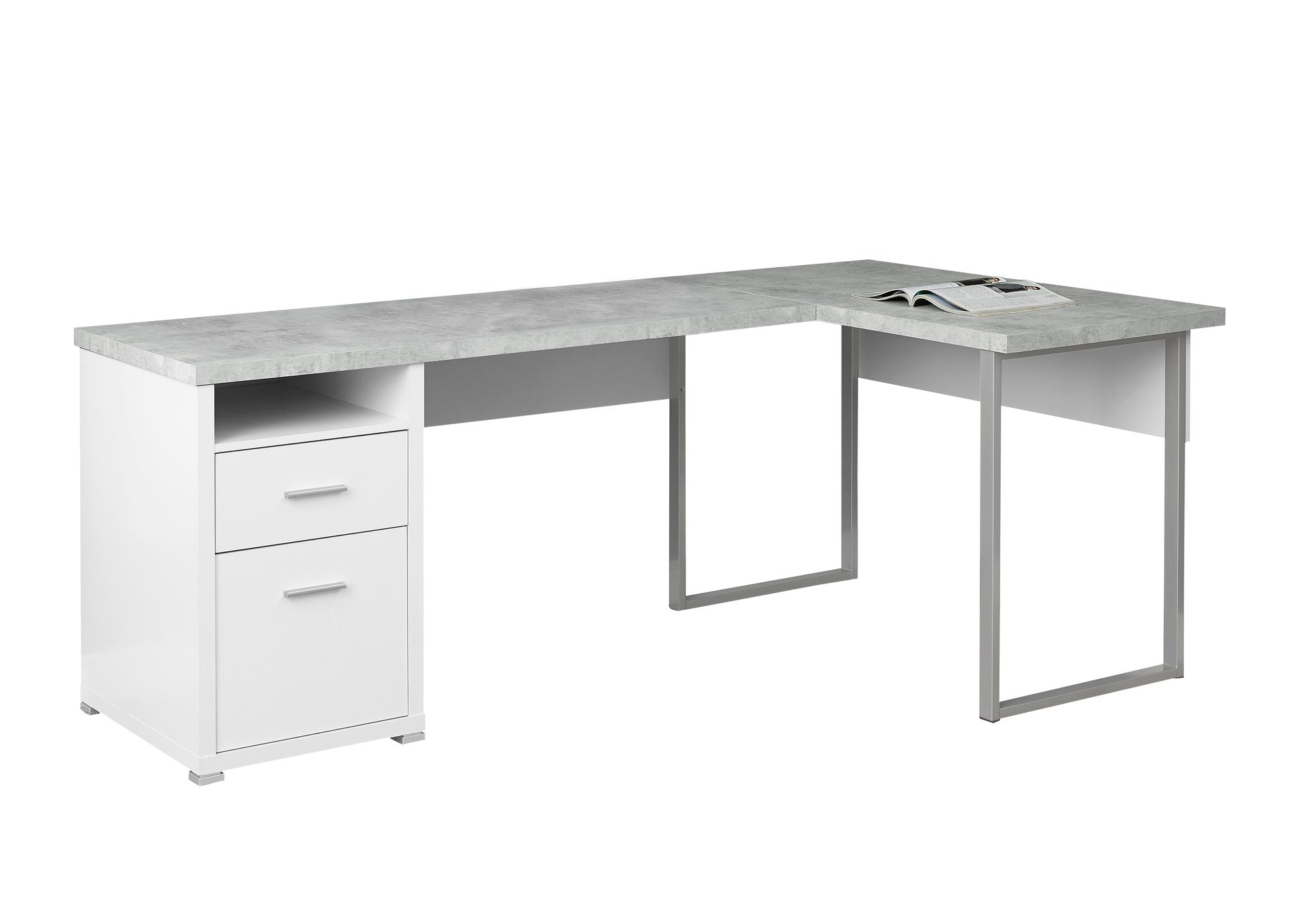 "79"" L-Shaped White & Cement Corner Office Desk w/ Flexible Position"