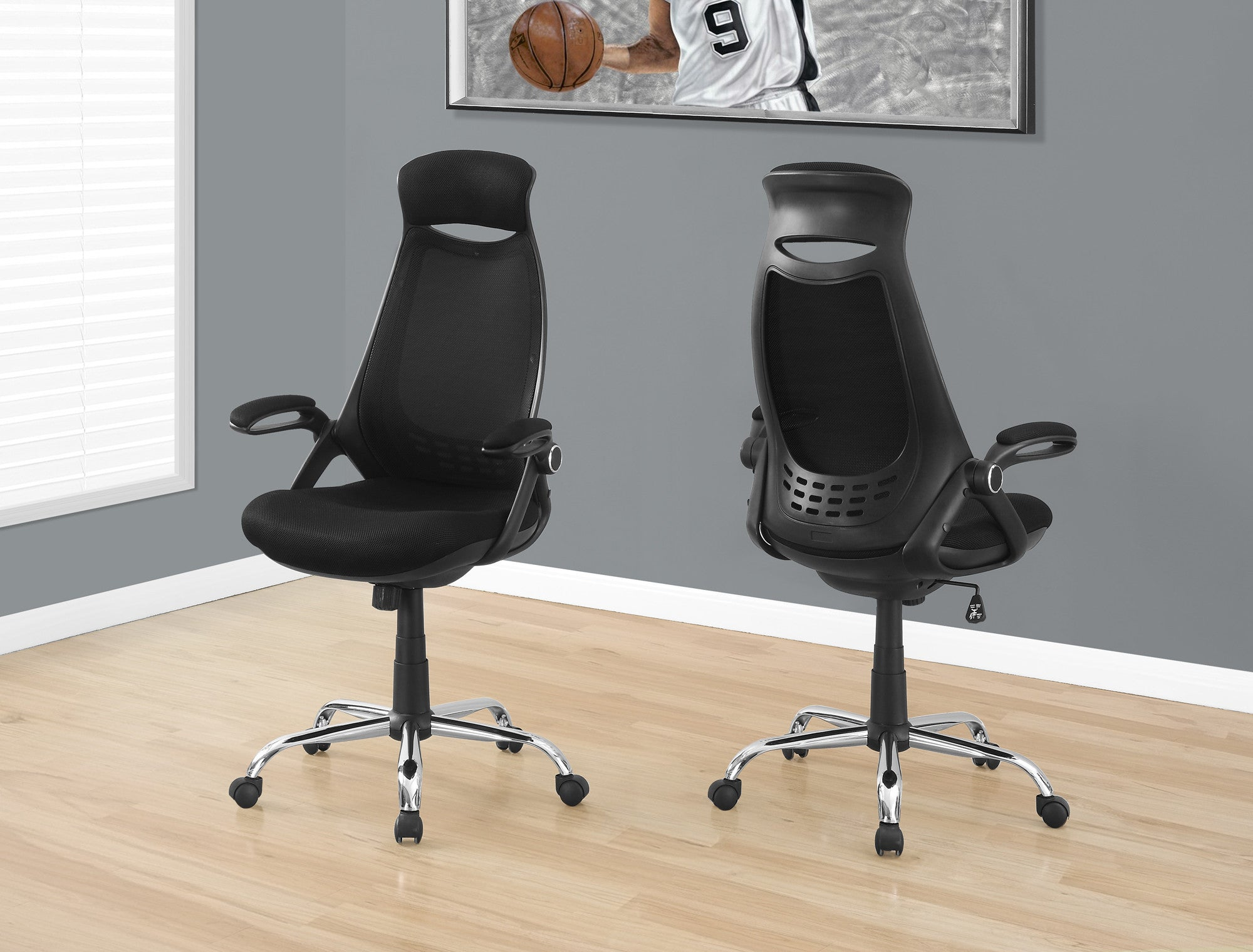 Premium Ergonomic Black Mesh Office Chair with Headrest