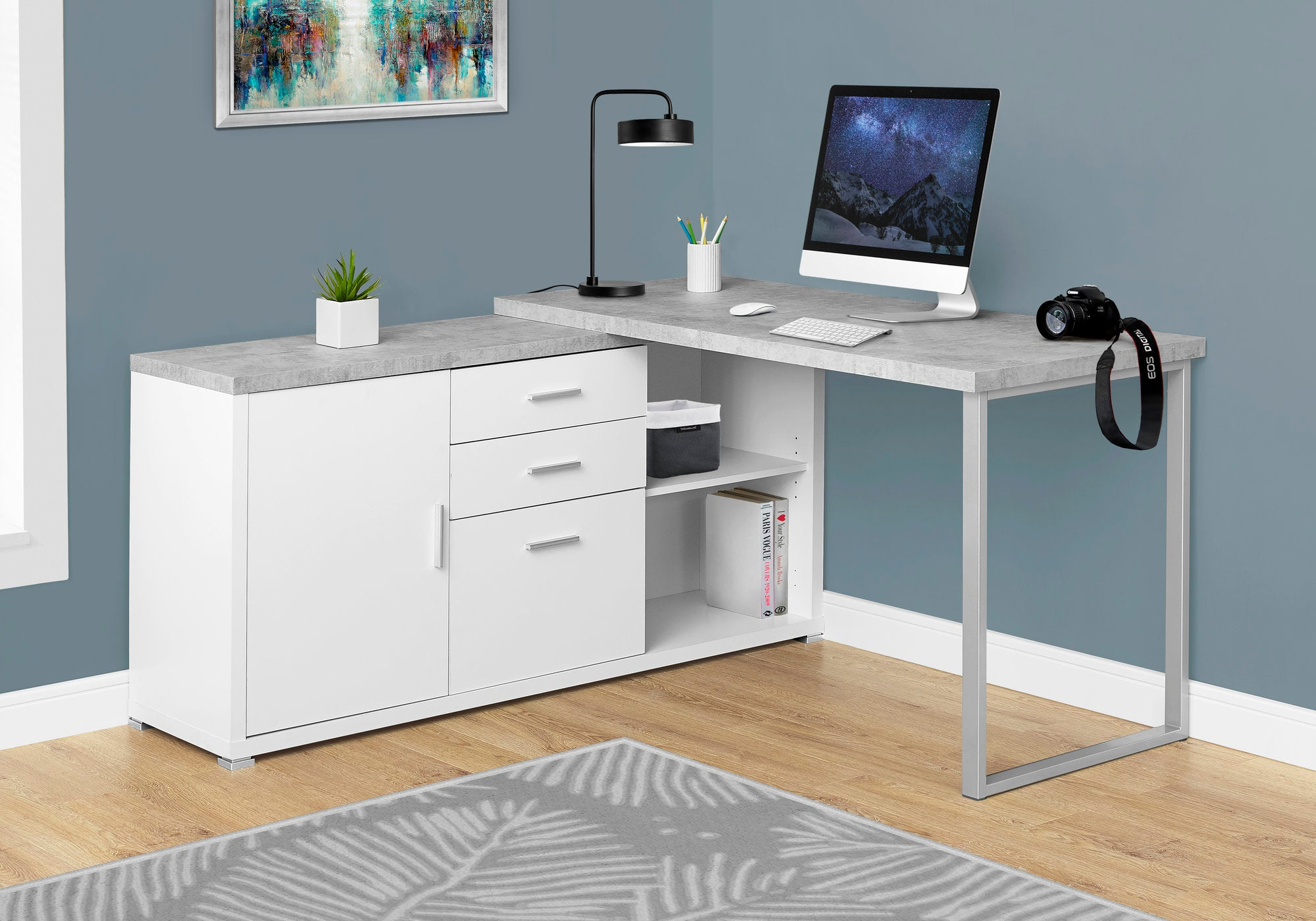 Practical White & Cement Corner Office Desk w/ Shelves & Drawers