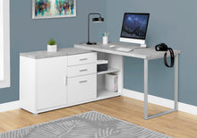 Load image into Gallery viewer, Practical White & Cement Corner Office Desk w/ Shelves & Drawers