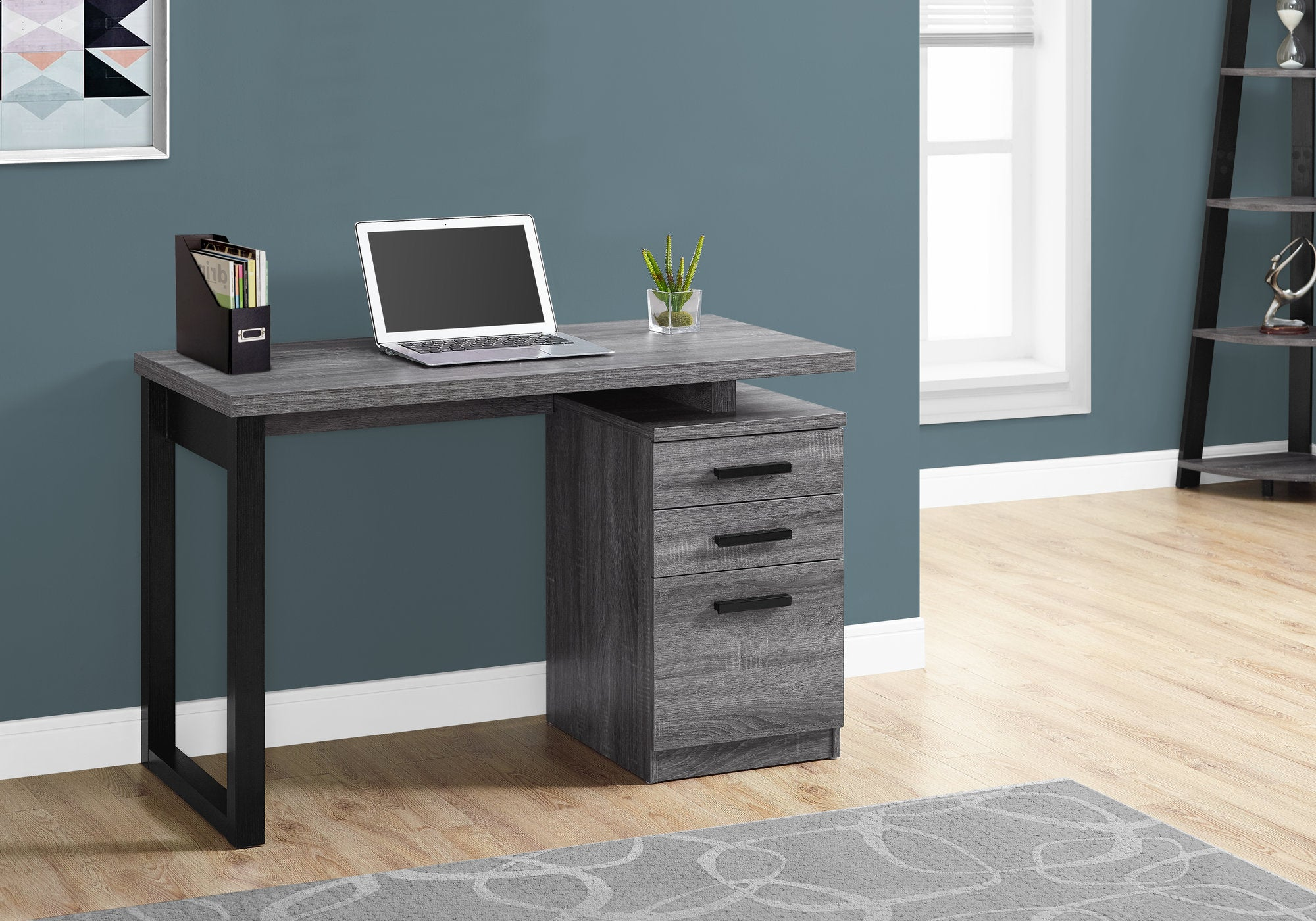 "Compact Grey & Black 47"" Office Desk, Left/Right Facing"