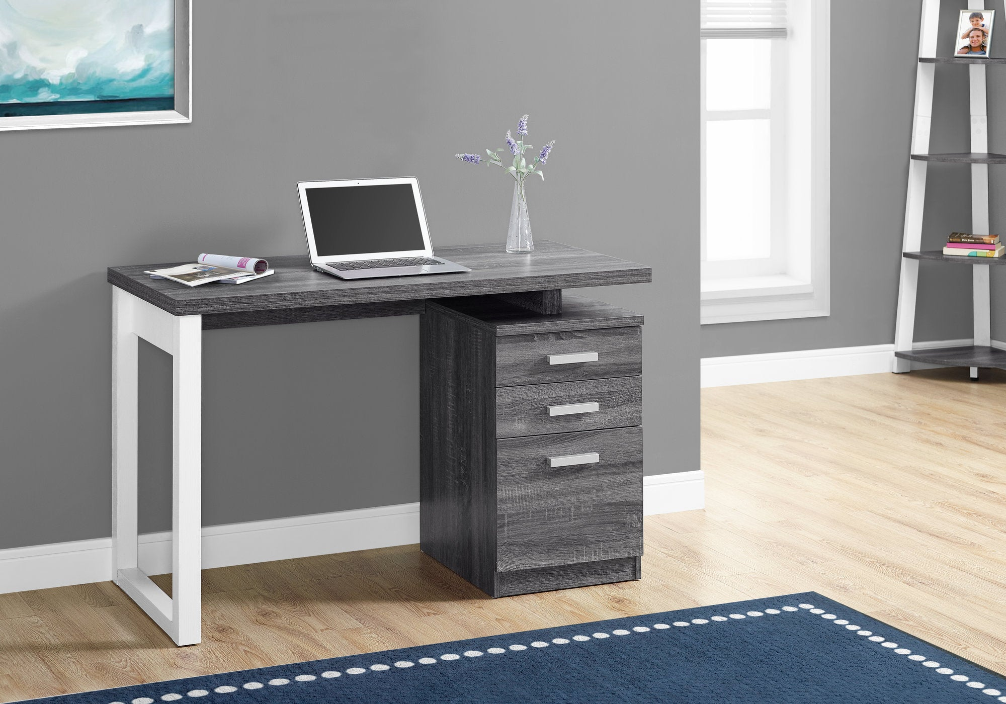 "Compact Grey & White 47"" Office Desk, Left/Right Facing"