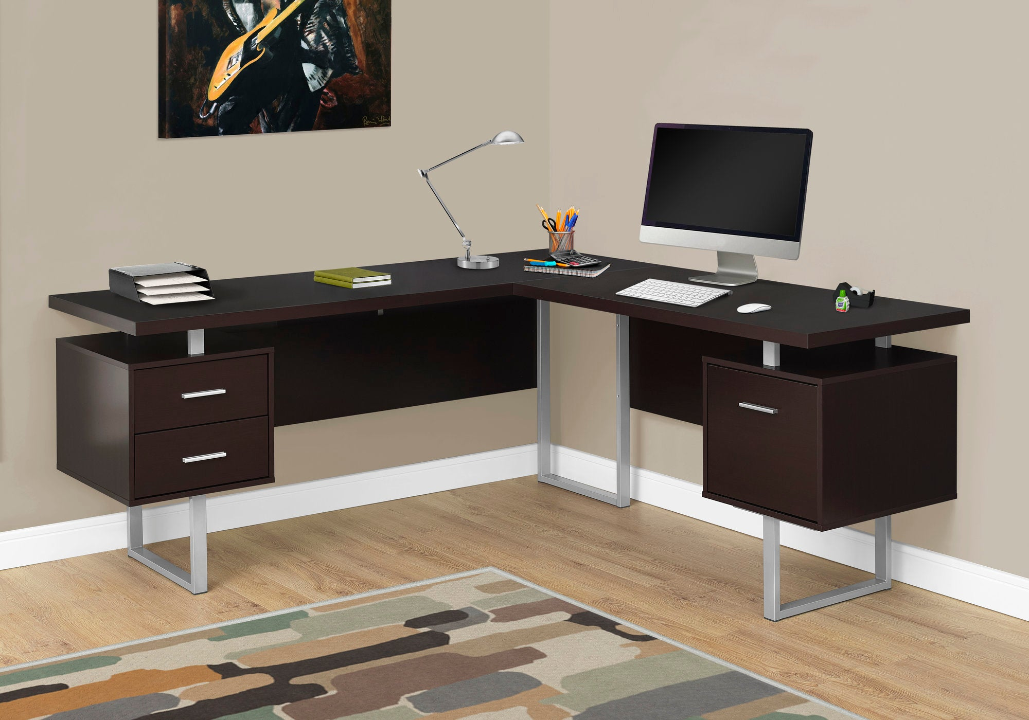 "Modern 71"" L-Shaped Cappuccino Office Desk w/ Drawers"