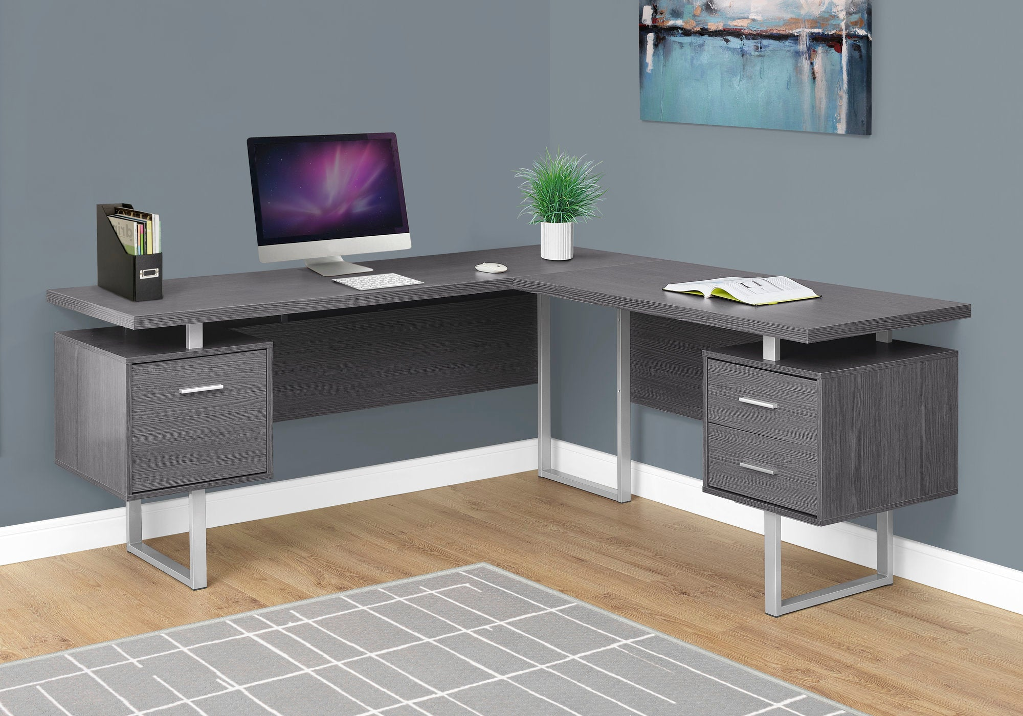 "Modern 71"" L-Shaped Grey Office Desk w/ Drawers"