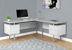 "Modern 71"" L-Shaped White & Cement Office Desk w/ Drawers"