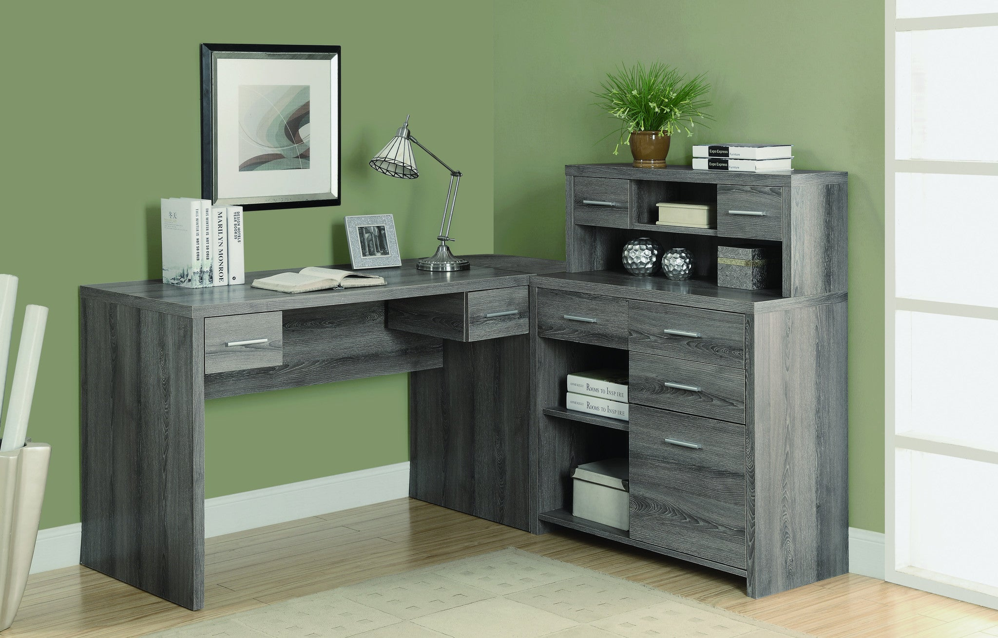 Modern L Shaped Desk With Great Storage In Dark Taupe