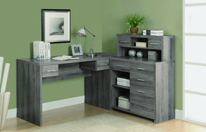 Modern L-Shaped Desk with Great Storage in Dark Taupe Reclaimed Finish