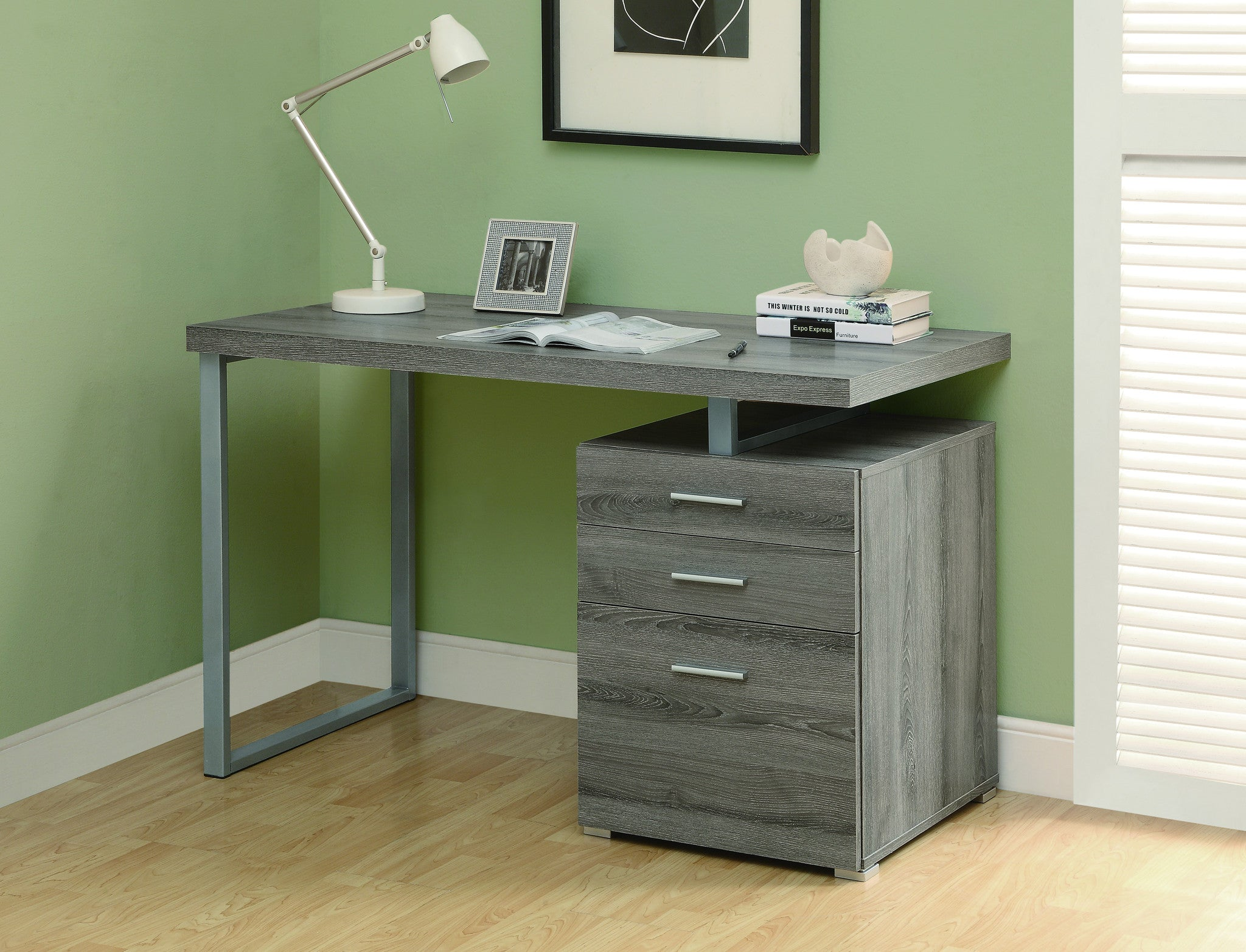 "48"" Single Pedestal Modern Dark Taupe Reclaimed Desk with Floating Desk Top"
