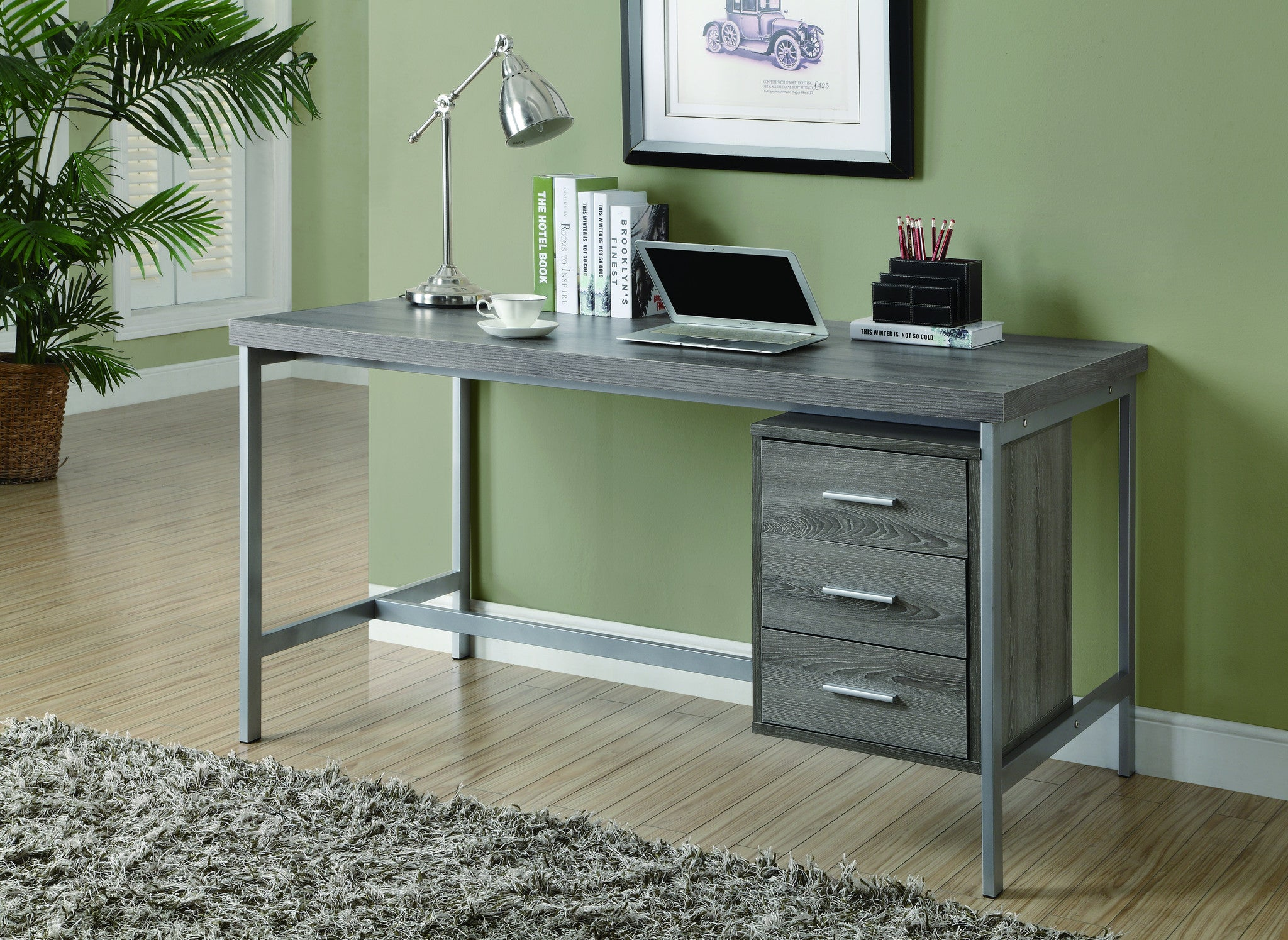 "Modern 60"" Three Drawer Desk in Reclaimed Dark Taupe Finish"