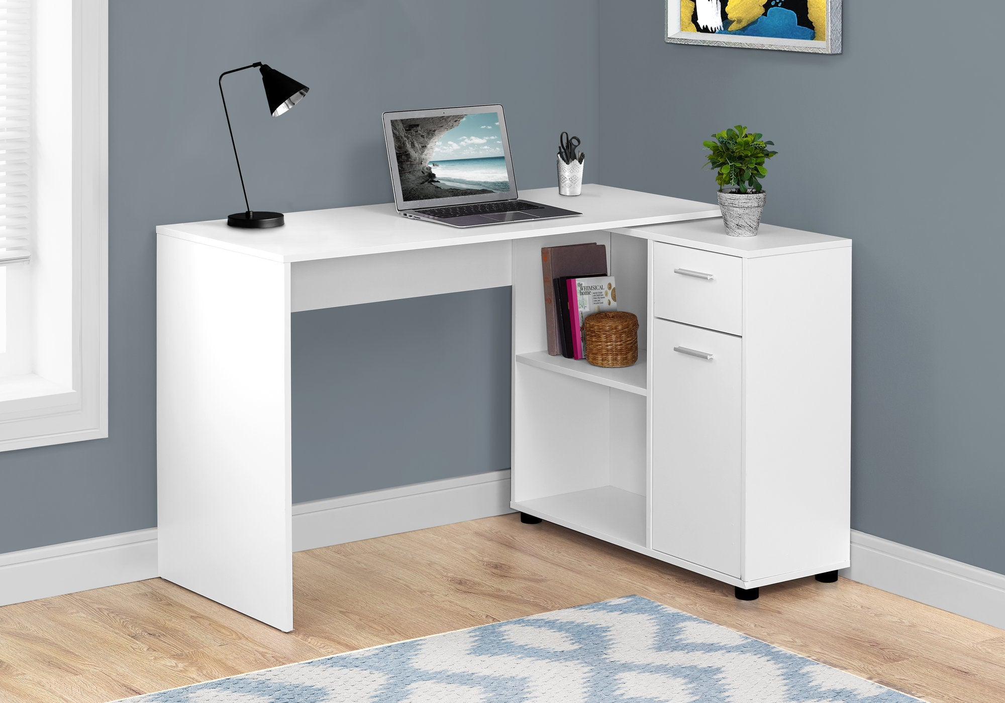 "Compact 46"" Computer Desk in White"