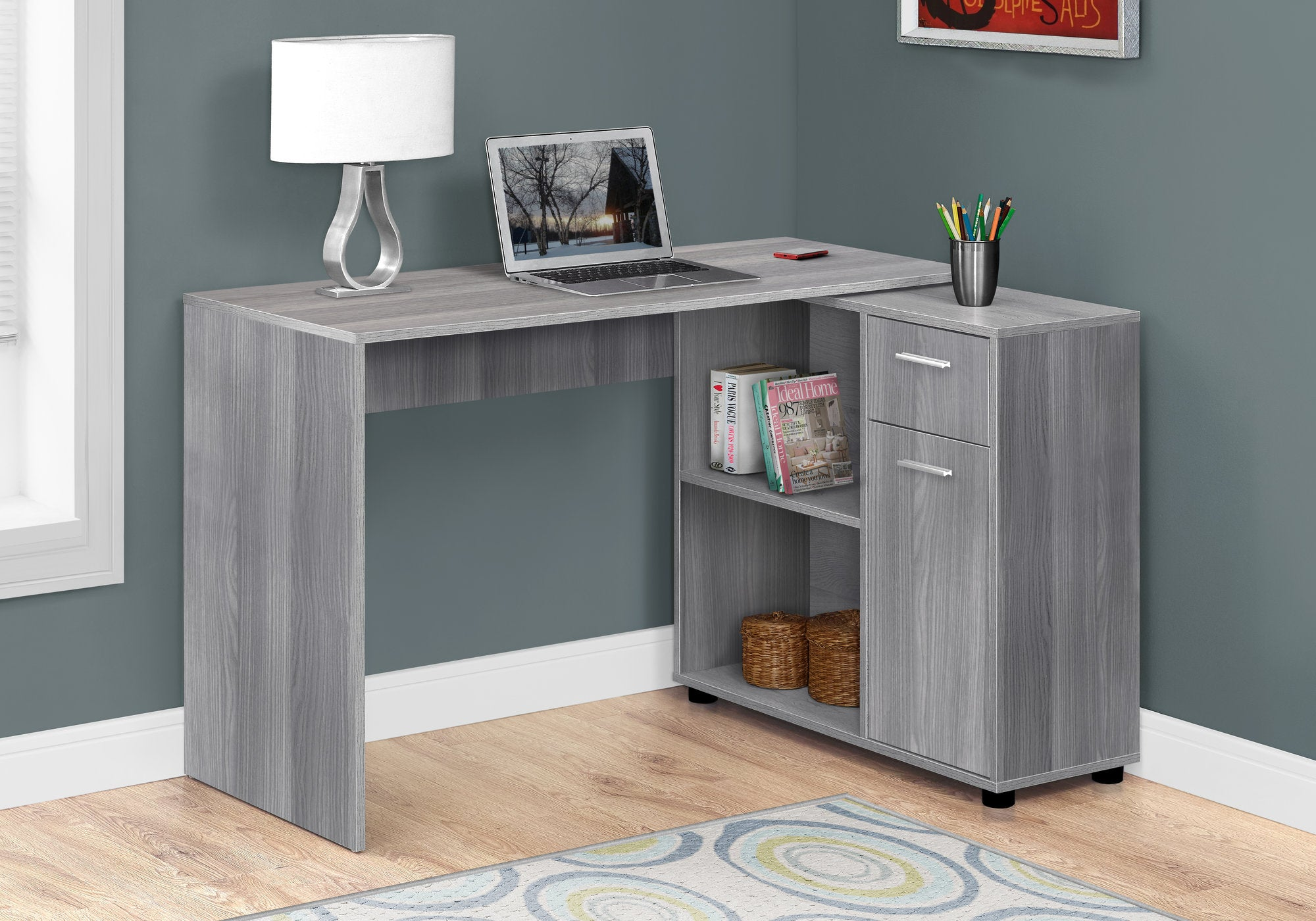 "Versatile 46"" Grey Office Desk w/ Storage"