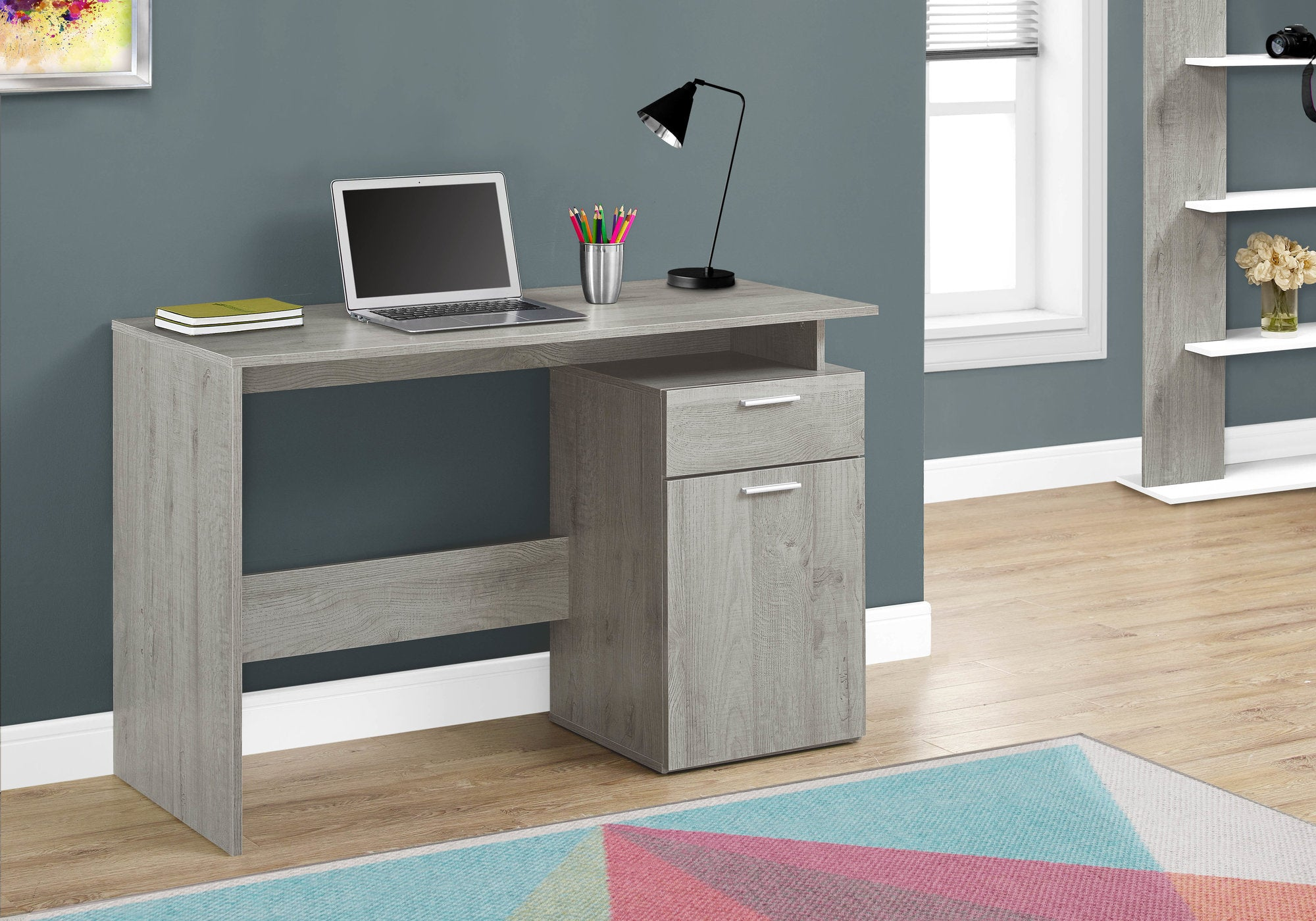"Compact 46"" Computer Desk in Grey"