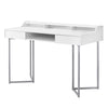 "Compact 48"" White & Silver Metal Office Desk"