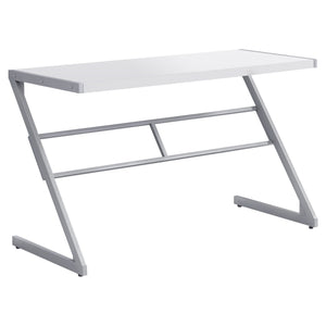 "Sophisticated Silver & White 48"" Office Desk w/ Z-Design"
