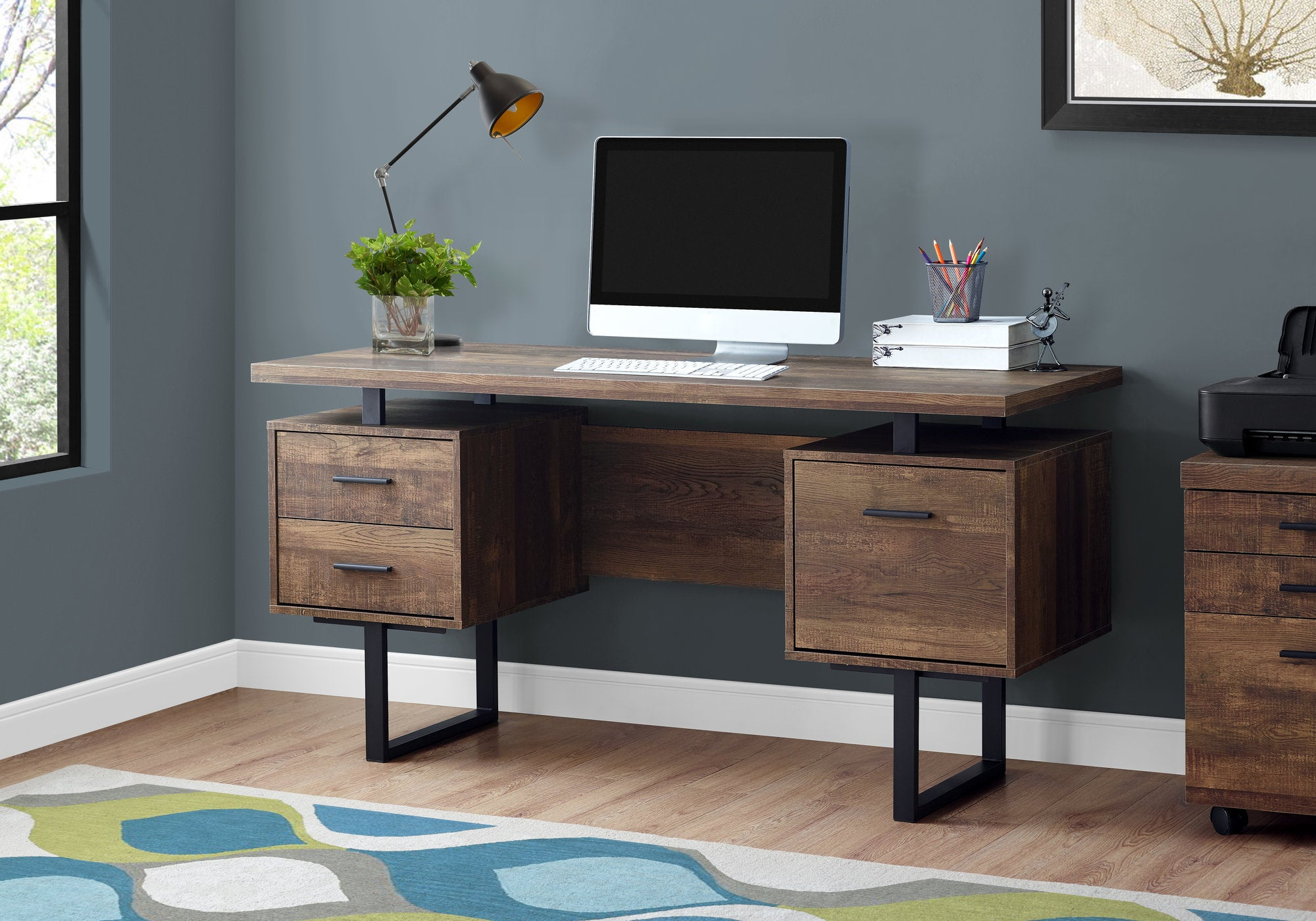Durable Brown Wood Grain & Black Metal Computer Desk