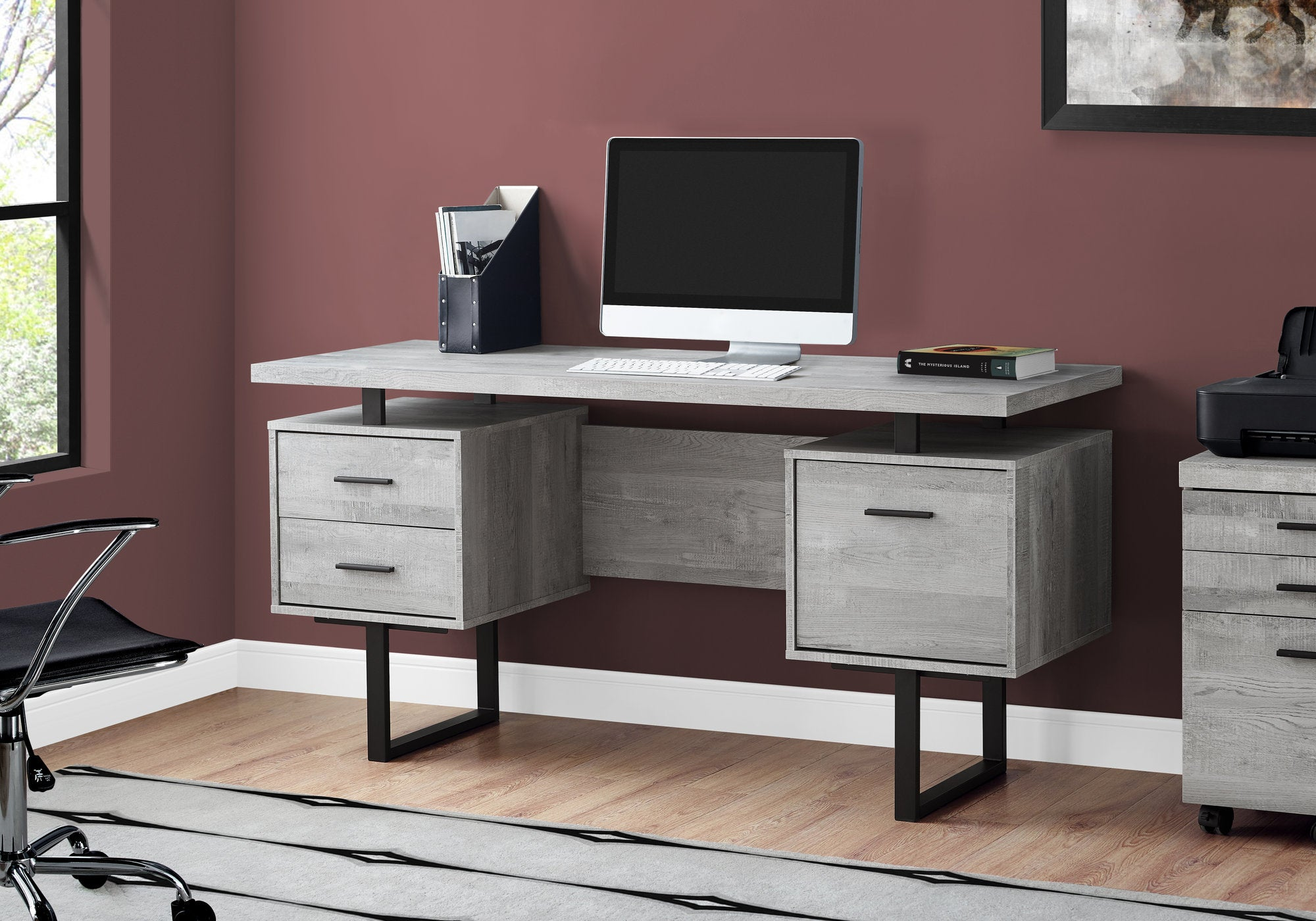 Durable Grey Wood Grain & Black Metal Computer Desk