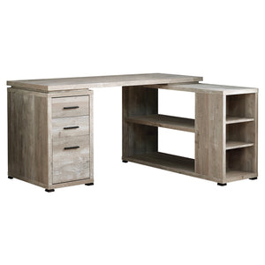 "60"" L-Shaped Office Desk in Soft Taupe Woodgrain"