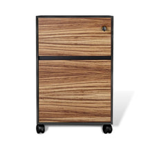 Load image into Gallery viewer, Modern Zebrano & Black Premium Mobile File Cabinet