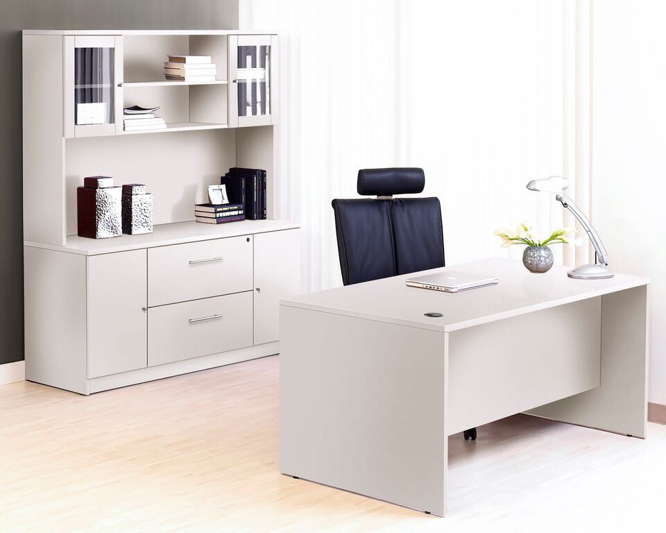 Modern Executive Desk Plus Credenza With Hutch In White