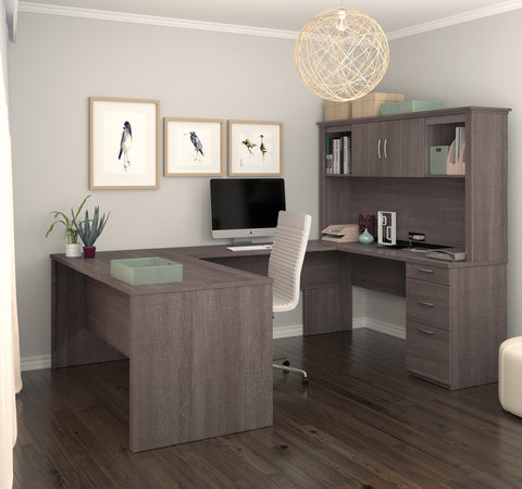 Modern Premium U-shaped Desk with Hutch in Bark Gray